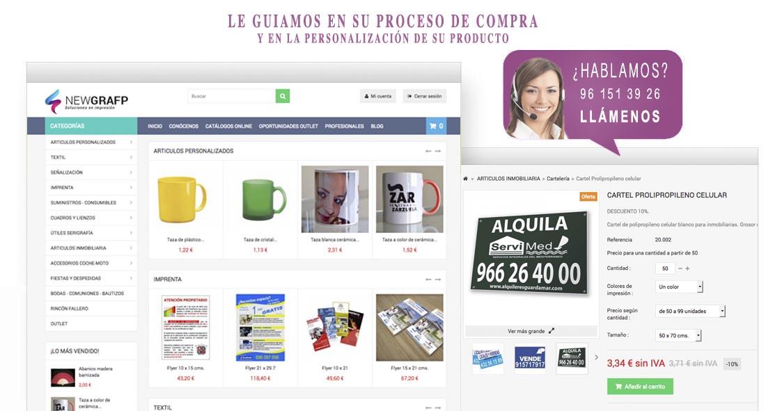 En Newgrafp le guiamos a través de todo el proceso de personalizacion y compra de un producto en nuestra tienda online