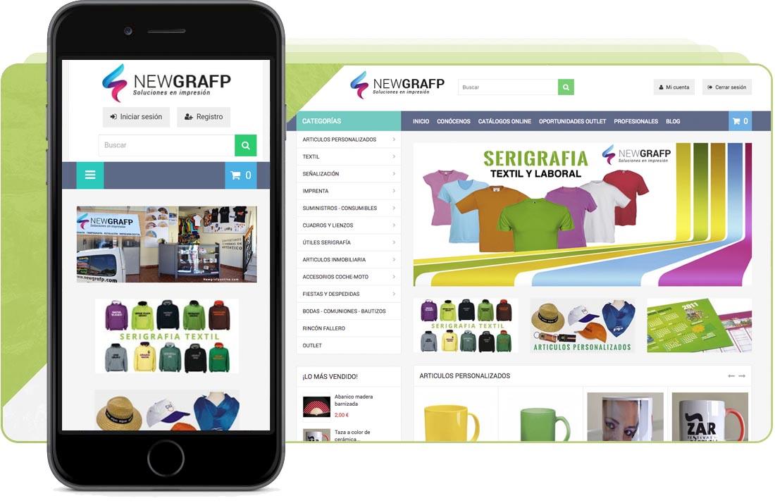Tienda online de articulos personalizados de Newgrafp. Disfrute de todos nuestros servicio a través de nuestra tienda online