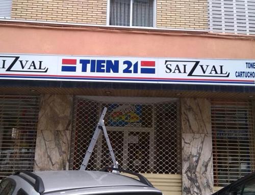 Rotulación de fachada en establecimiento comercial